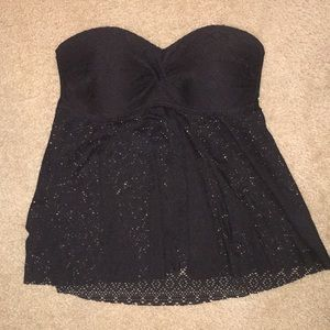 Strapless black lace tankini top